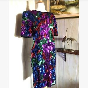 NWT 1980's Silk & Sequin Party Dress